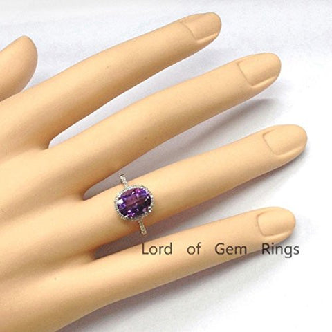 Oval Purple Amethyst Engagement Ring Pave Diamond Wedding 14K White Gold,8x10mm - Lord of Gem Rings - 1