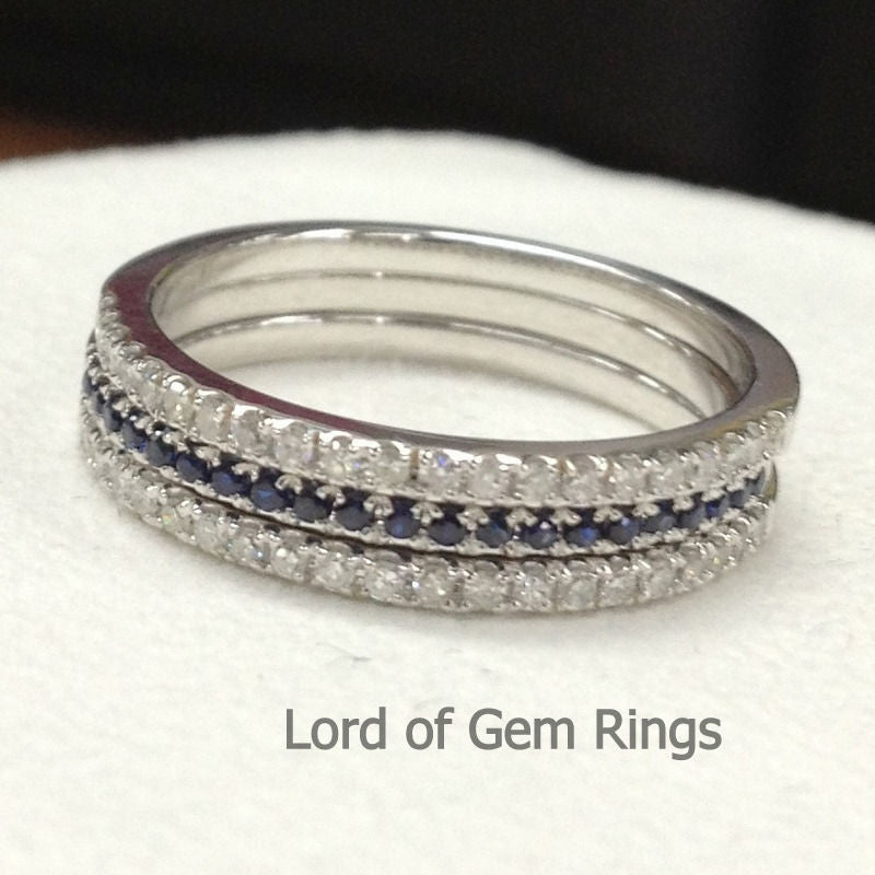 Pave Sapphire/Diamond Wedding Band Trio Sets Half Eternity Anniversary Ring 14K White Gold - Lord of Gem Rings - 1