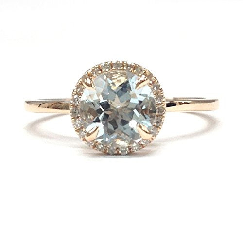 Round Aquamarine Engagement RingPave Diamond Wedding 14K Rose Gold,7mm - Lord of Gem Rings - 1