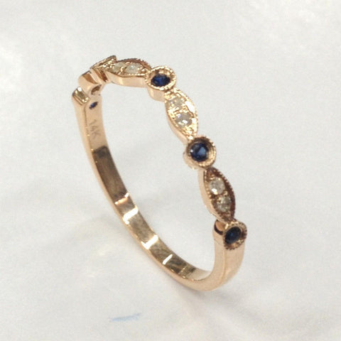 Sapphire Diamond Wedding Band Half Eternity Anniversary Ring 14K Rose Gold - Lord of Gem Rings - 1