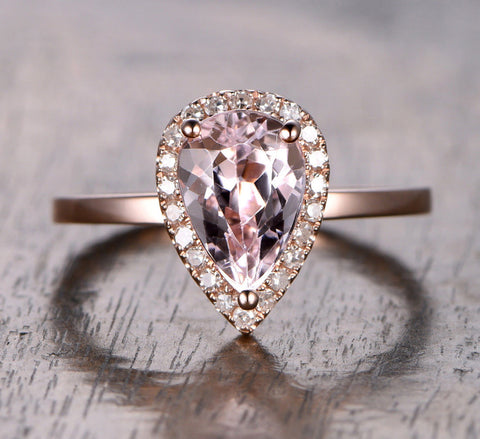 Pear Morganite Engagement Ring Pave Diamond Halo 14K Rose Gold 6x9mm - Lord of Gem Rings - 2