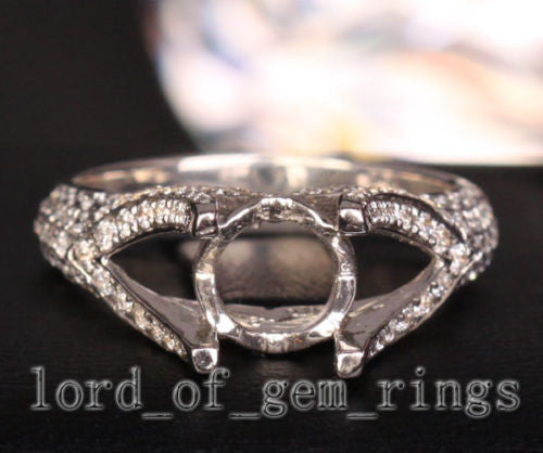 Diamond Engagement Semi Mount Ring 14K White Gold Setting Round 7mm - Lord of Gem Rings - 1