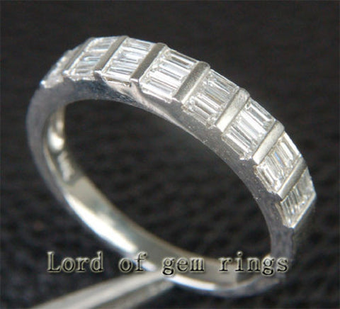 VS Baguette Diamond Wedding Band Engagement Ring 14K White Gold Channel Set - Lord of Gem Rings - 1