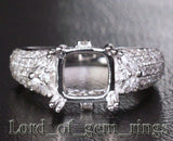Diamond Engagement Semi Mount Ring 14K White Gold Setting Cushion 7.5-8mm - Lord of Gem Rings - 1
