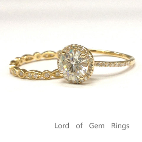 Round Moissanite Engagement Ring Sets Pave Diamond Wedding 14K Yellow Gold 6.5mm Art Deco - Lord of Gem Rings - 1