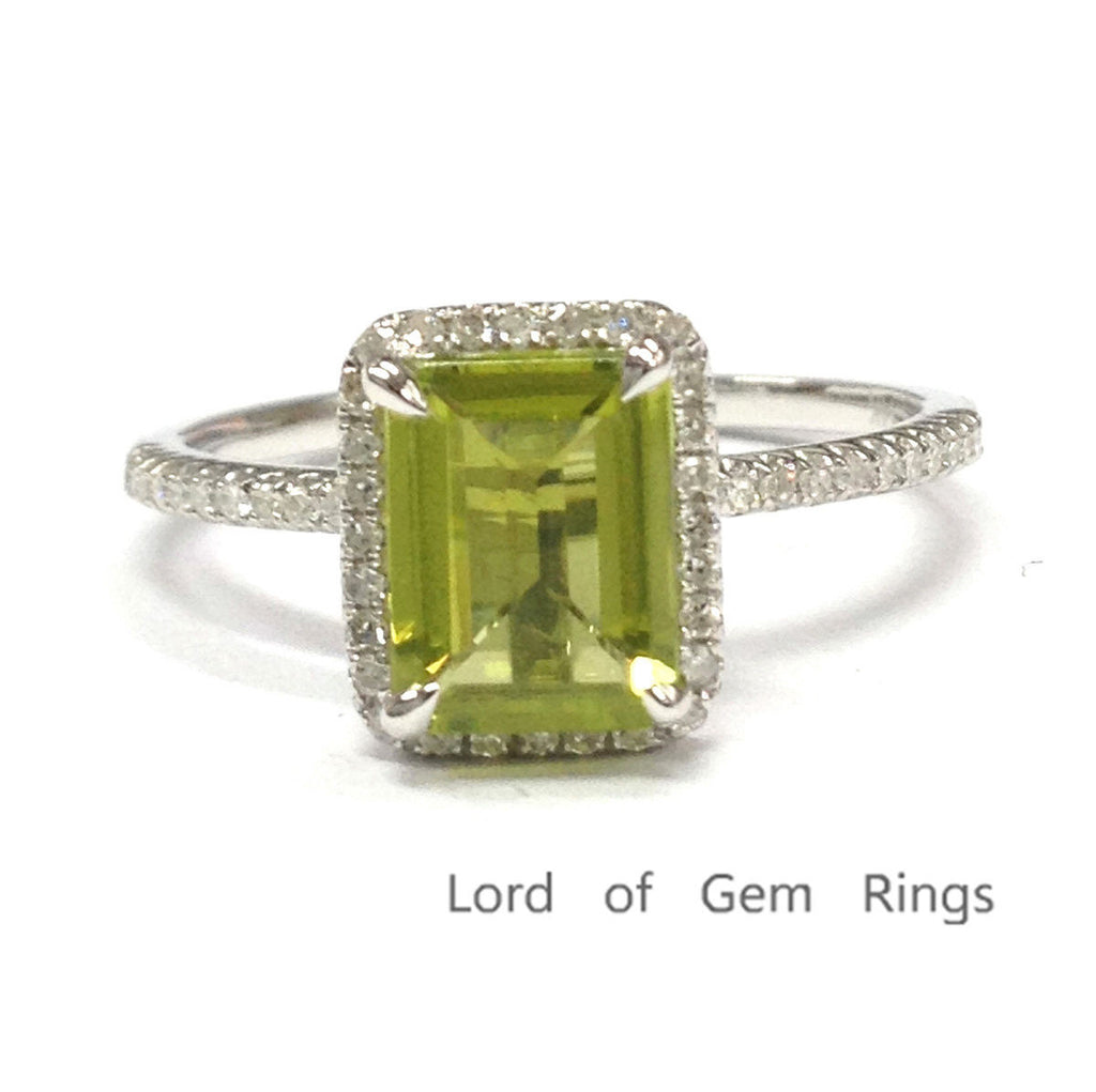 Emerald Cut Peridot Engagement Ring Pave Diamond Wedding 14K White Gold 6x8mm - Lord of Gem Rings - 1