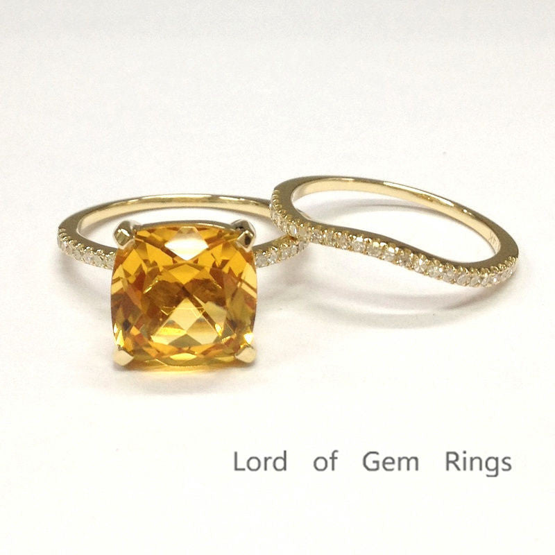 Cushion Citrine Engagement Ring Sets Pave Diamond Wedding 14K Yellow Gold 9mm Curved Band - Lord of Gem Rings - 1