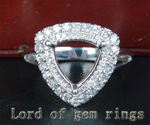 Diamond Engagement Semi Mount Ring 14K White Gold Setting Trillion 10mm - Lord of Gem Rings - 1
