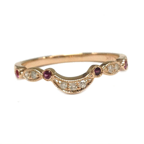 Ruby Diamond Wedding Band Half Eternity Anniversary Ring 14K Rose Gold Art Deco Curved - Lord of Gem Rings - 1