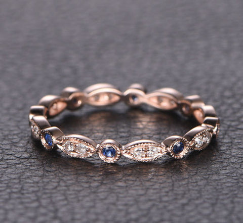 Pave Sapphire Diamond Wedding Band Eternity Anniversary Ring 14K Rose Gold Antique Art Deco - Lord of Gem Rings