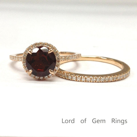 Round Garnet Engagement Ring Sets Pave Diamond Wedding 14K Rose Gold 7mm - Lord of Gem Rings