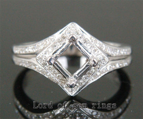 Diamond engagement Ring Semi Mount 14K White Gold Setting Princess 5.25mm - Lord of Gem Rings - 1