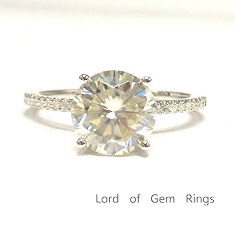 Round Moissanite Engagement Ring Pave Diamond Wedding 14K White Gold,8mm - Lord of Gem Rings - 1