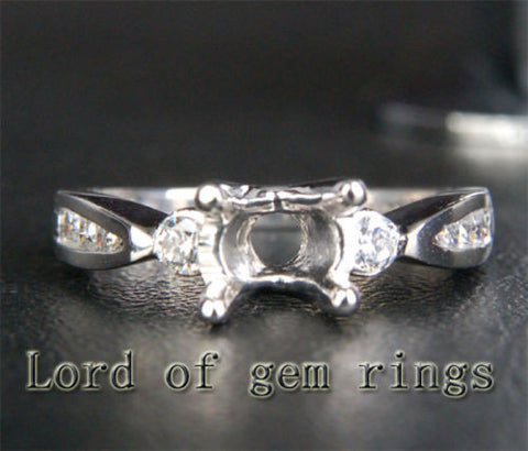 Diamond Engagement Semi Mount Ring 14K White Gold Round 6.5mm Channel - Lord of Gem Rings - 1