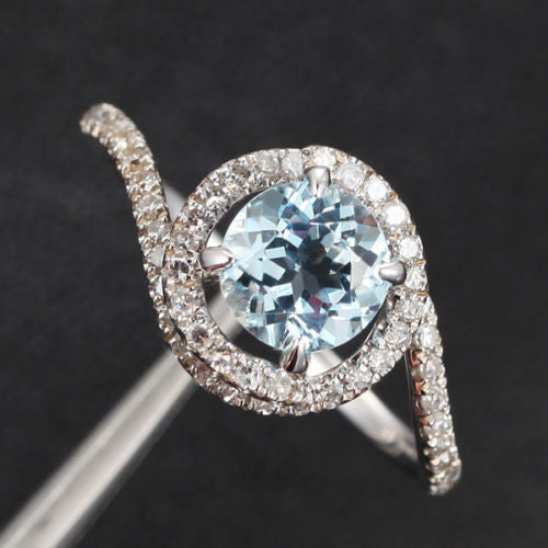 Round Aquamarine Engagement Ring Pave Diamond Wedding 14K White Gold 6mm  Claw Prong - Lord of Gem Rings - 1