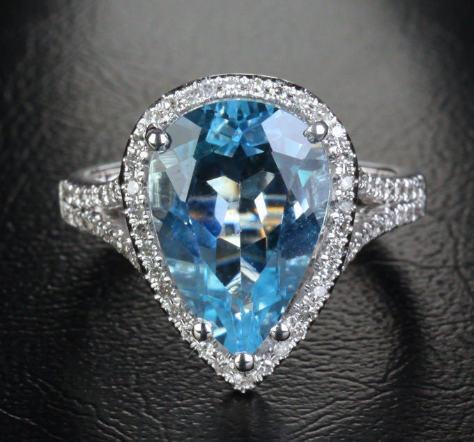 Pear Aquamarine Engagement Ring Pave Diamond Wedding 14K White Gold,9x13mm - Lord of Gem Rings - 1