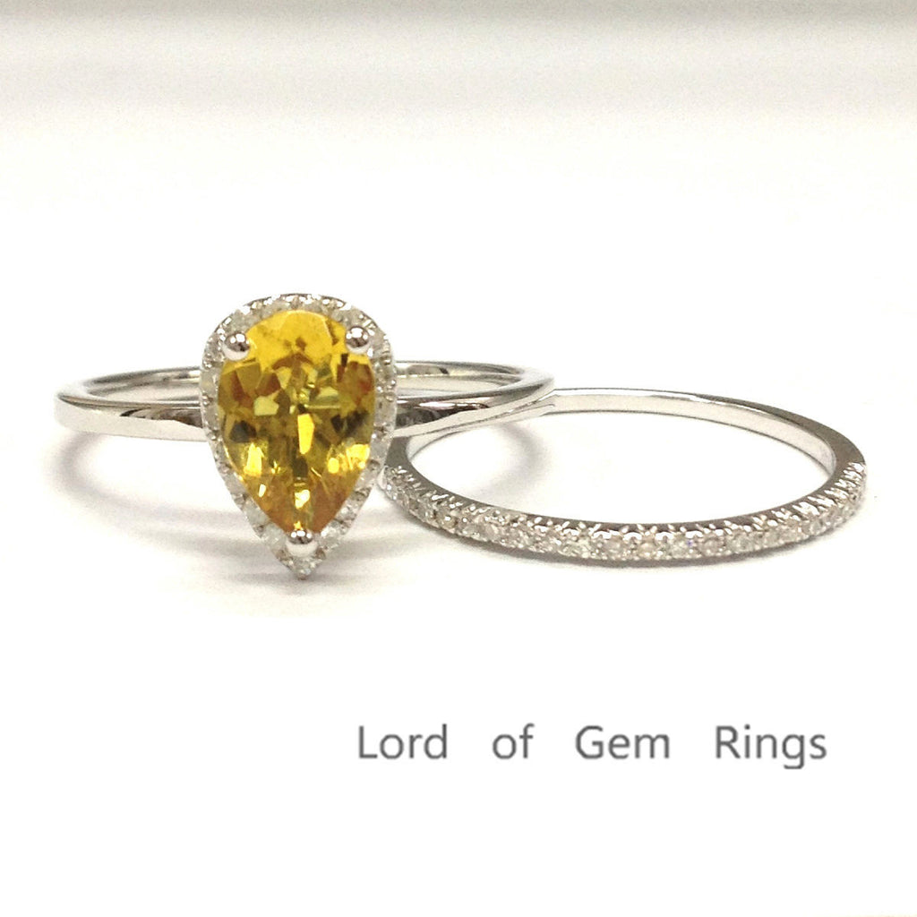 Pear Citrine Engagement Ring Sets Pave Diamond Wedding 14K White Gold 6x9mm - Lord of Gem Rings - 1