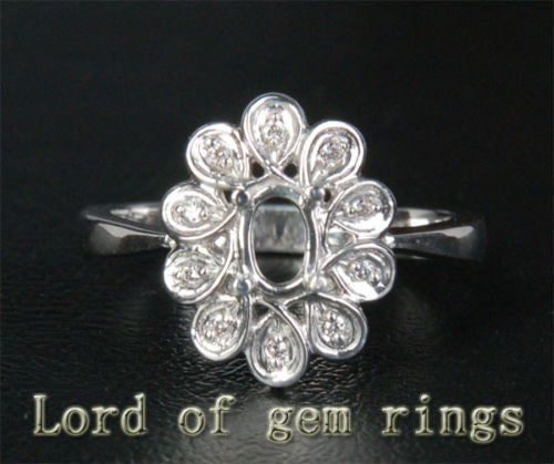 Flower 4x6mm Oval Cut 14K White Gold Diamonds Engagement Wedding Semi Mount Ring - Lord of Gem Rings - 1