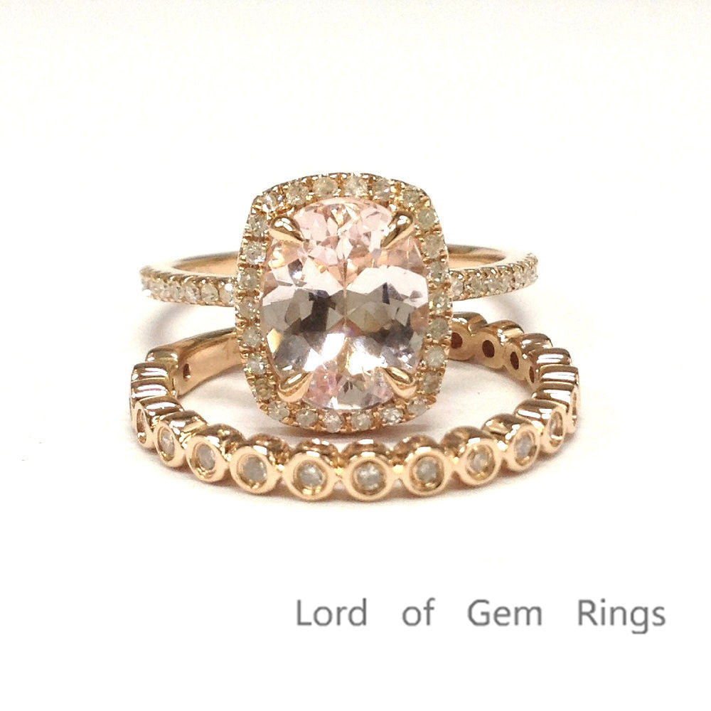 Oval Morganite Engagement Ring Sets Pave  Diamond Wedding 14K Rose Gold 7x9mm, Cushion Halo - Lord of Gem Rings - 1