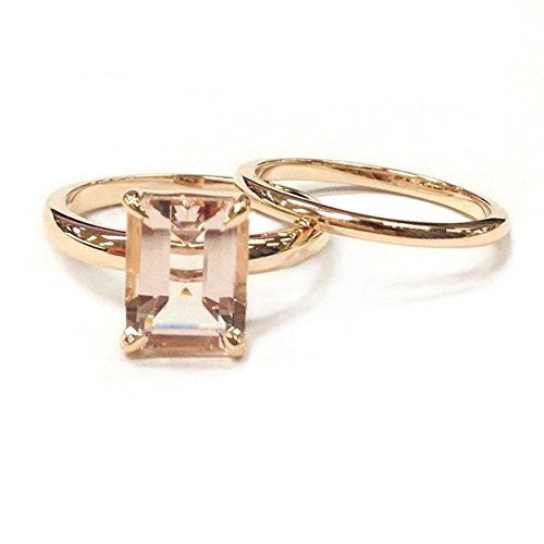 Emerald Cut Morganite Engagement Ring Sets Wedding 14K Rose Gold,7x9mm,Plain Gold Band - Lord of Gem Rings - 1