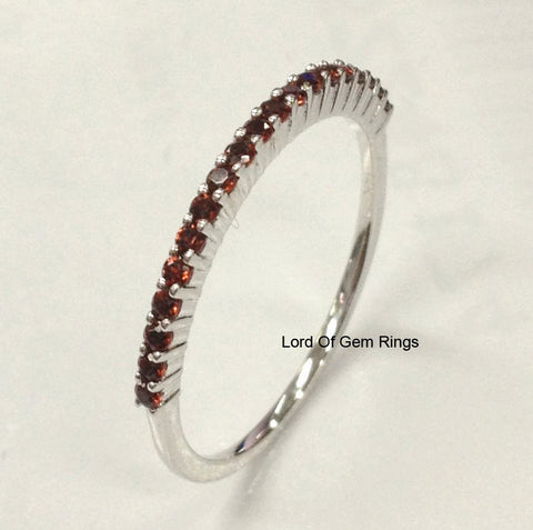 Garnet Wedding Band Half Eternity Anniversary Ring 14K White Gold - Lord of Gem Rings - 1