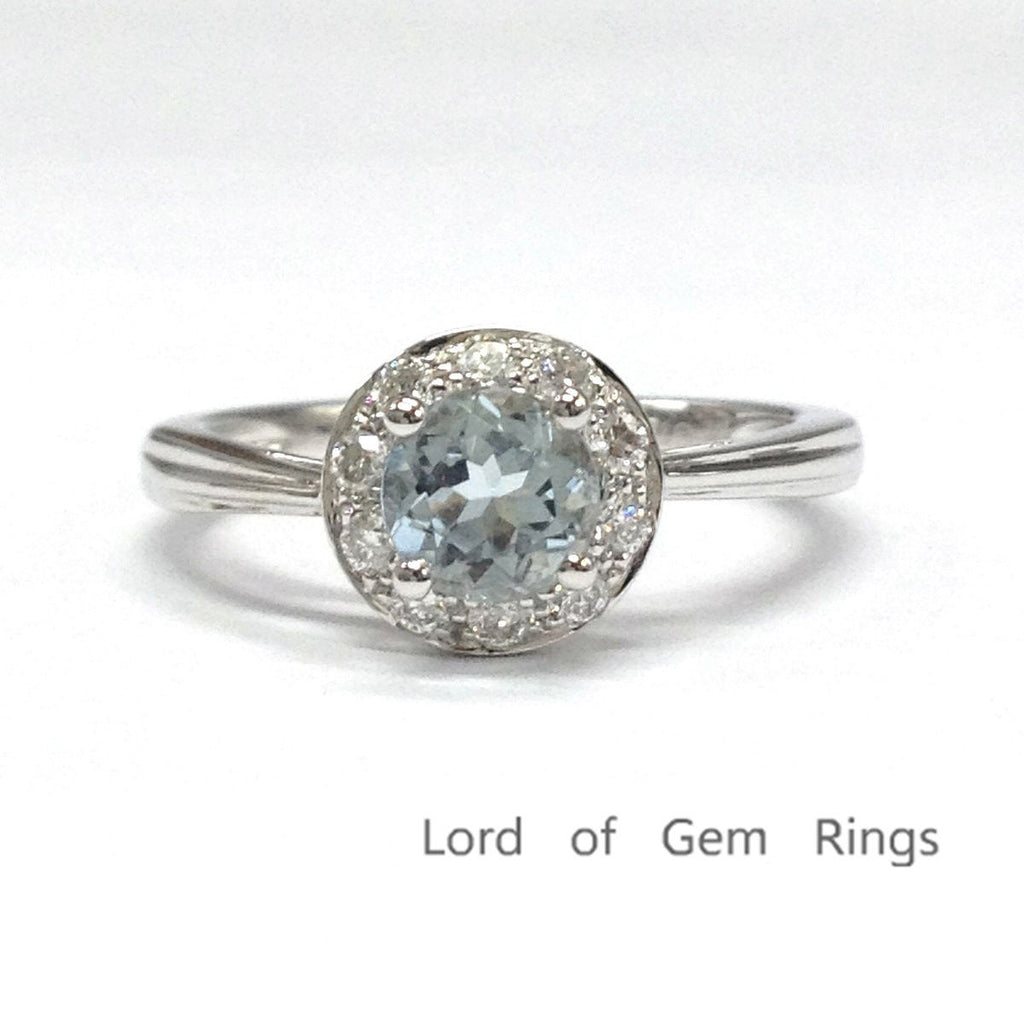 Round Aquamarine Engagement Ring Pave Diamond Halo 14K White Gold 5mm - Lord of Gem Rings - 1