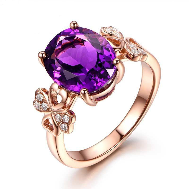 Oval Amethyst Engagement Ring Pave Diamond Wedding Celtic Shamrock 14K Rose Gold - Lord of Gem Rings - 1