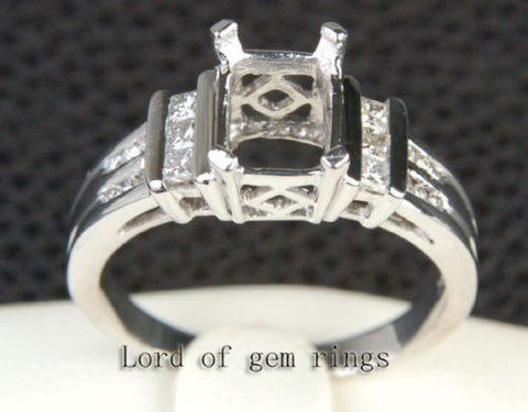 Diamond Engagement Semi Mount Ring 14K White Gold Setting Emerald Cut 6x8mm - VS Princess Diamonds - Lord of Gem Rings - 1