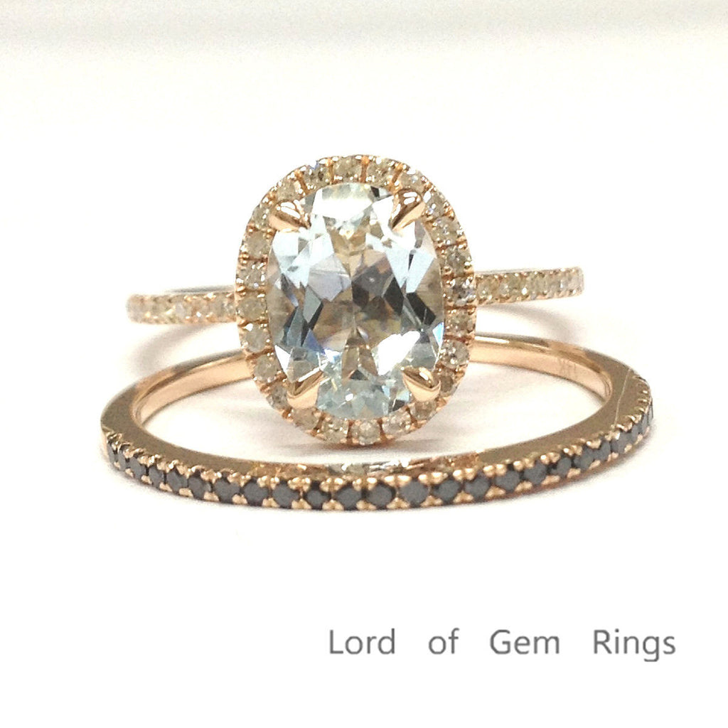 Oval Aquamarine Engagement Ring Sets Pave Black Diamond Wedding Band 14K Rose Gold 6x8mm - Lord of Gem Rings - 1