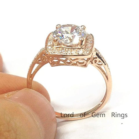 Round Moissanite Engagement Ring Pave Diamond Halo 14K Rose Gold,7mm - Lord of Gem Rings - 1