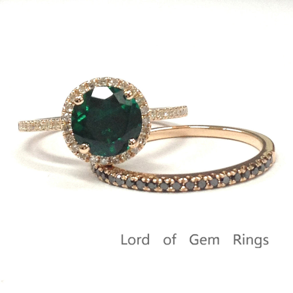 $598 Round Emerald Engagement Ring Sets Pave Black Diamond