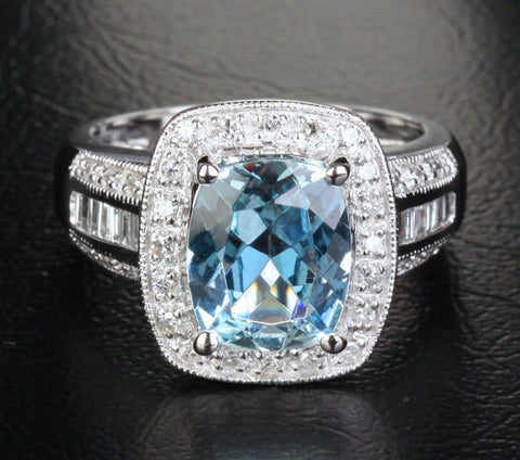 Cushion Aquamarine Engagement Ring Diamond Wedding 14K White Gold,8x10mm