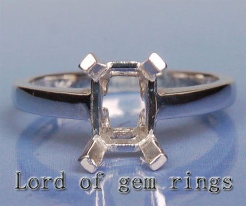 Engagement Semi Mount Ring 14K White Gold Setting Emerald Cut 6x8mm - Lord of Gem Rings - 1