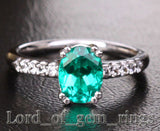 Oval Emerald Engagement Ring Diamond Wedding 14k White Gold - Lord of Gem Rings - 1