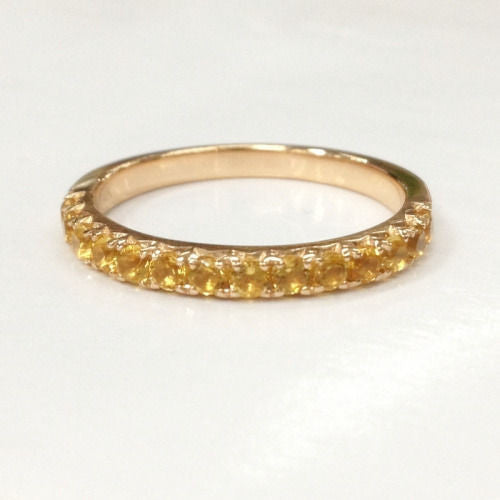 Citrine Wedding Band Half Eternity Anniversary Ring 14K Rose Gold - Lord of Gem Rings - 1