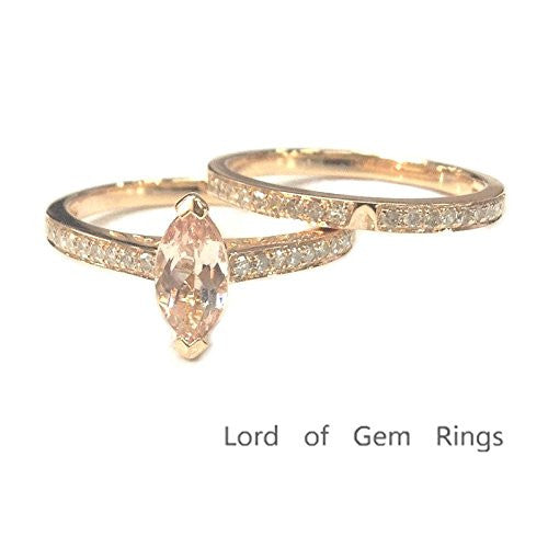 Marquise Morganite Engagement Ring Sets Pave Diamond Wedding 14K Rose Gold,5x10mm - Lord of Gem Rings - 1