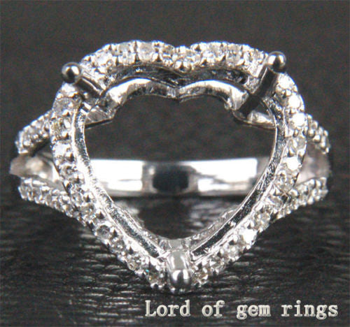 Diamond Engagement Semi Mount Ring 14K White Gold Setting Heart Shaped 10mm - Lord of Gem Rings - 1
