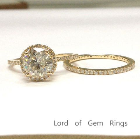 Round Moissanite Engagement Ring Sets Pave Diamond Wedding 14K Yellow Gold 7mm - Lord of Gem Rings - 1