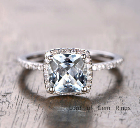 Cushion Aquamarine Engagement Ring Pave Diamond Wedding 14K White Gold 7mm - Lord of Gem Rings - 1