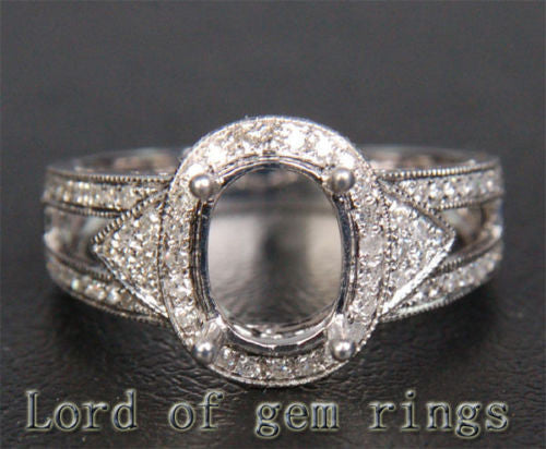 Diamond Engagement Semi Mount Ring 14K White Gold Setting Oval 6.5x8.5mm Milgrain - Lord of Gem Rings - 1