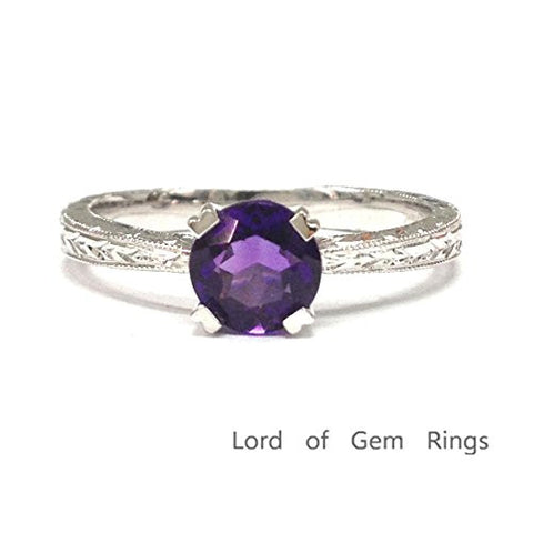 Round Purple Amethyst Engagement Ring 14K White Gold,5mm,Vintage Style Solitaire - Lord of Gem Rings - 1