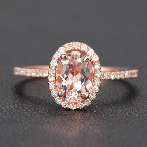 Oval Morganite Engagement Ring Pave Diamond Wedding 14K Rose Gold 6x8mm CLAW PRONGS - Lord of Gem Rings - 1
