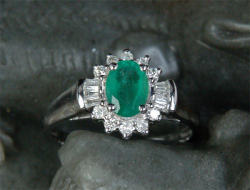 Oval Emerald Engagement Ring Baguette/Round Diamond Wedding 14K White Gold Flower - Lord of Gem Rings - 1