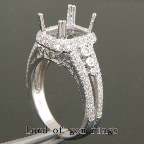 Diamond Engagement Semi Mount Ring 14K White Gold Emerald Cut 7x9mm - Lord of Gem Rings - 1