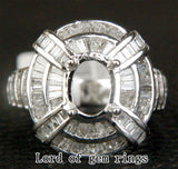 Baguette Diamond Engagement Semi Mount Ring 14K White Gold Setting Oval 6x8mm 2.18CT - Lord of Gem Rings - 1