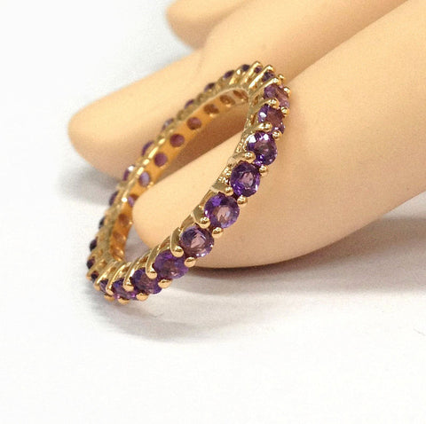 Amethysts Wedding Band Eternity Anniversary Ring 14K Rose Gold - Lord of Gem Rings - 1