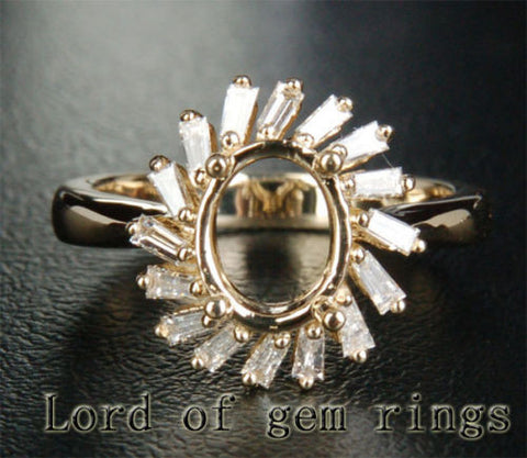 Baguette Diamond Engagement Semi Mount Ring 14K Yellow Gold Oval 7x9mm - Lord of Gem Rings - 1