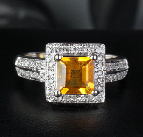 Asscher Citrine Engagement Ring Pave Diamond Wedding 14K White Gold 6mm