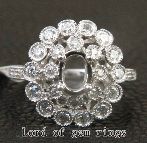 Diamond Engagement Semi Mount Ring 14K White Gold Setting Oval 5x7mm - Lord of Gem Rings - 1