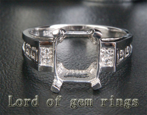 Diamond Engagement Semi Mount Ring 14K White Gold Setting Emerald Cut 8x10mm - Lord of Gem Rings - 1